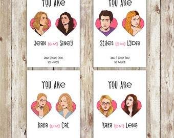 Supergirl, Supercorp, Teen wolf, Gypsy, Stiles Lydia, valentines day, valentines, valentines day card, valentines card, greeting cards