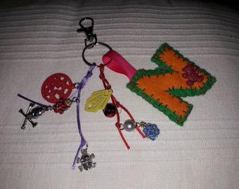Felt Bag charm, Key ring Initial letter , alphabet