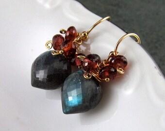 Garnet and labradorite earrings, handmade Gold filled earrings-OOAK