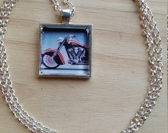 Handmade Necklace Glass Tile Pendant Stunning Motorcycle Image 2 Silver Chain free shipping