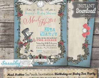 Mad hatter invites Etsy