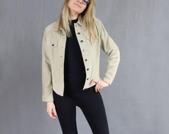 90s Suede Moto Jacket, Vintage Tan Leather 1990s Grunge Beige Biker Rocker Motorcycle Aviator Beige Classic Suede Coat Blazer, Size Large