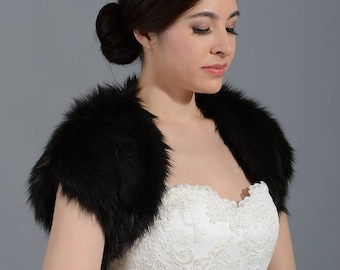Black faux fur bolero faux fur shrug FS004-Black