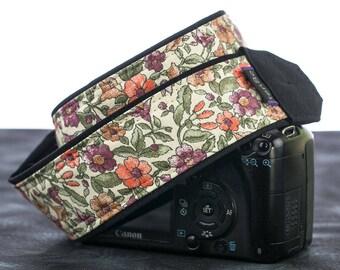 Floral dSLR Camera Strap, Salmon, Coral, Purple, Eggplant, SLR, Canon camera strap, Nikon camera strap, 157