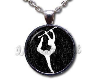 Baton Twirler Glass Dome Pendant or with Chain Link Necklace SG104