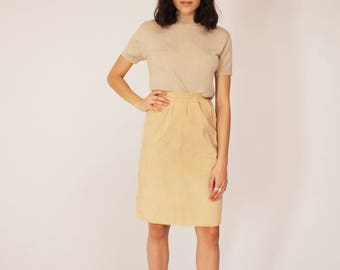 Creme Corduroy Skirt - High Waisted, Beige, Vintage, 90s, Fall, Spring, Small, 1990s