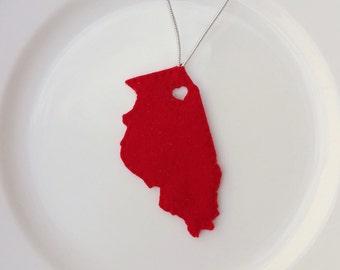 Illinois Felt Christmas Handmade Ornament