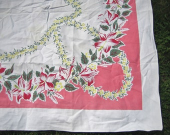 Beautiful Vintage Tablecloth Flowers BRIGHT