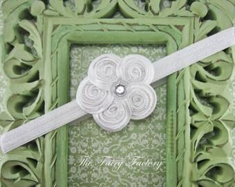 Mini Posh White Beaded Swirl Flower Headband or Hair Clip, Baby Headband, Baptism, Christening, Baby, Toddler, Child Girls Headband