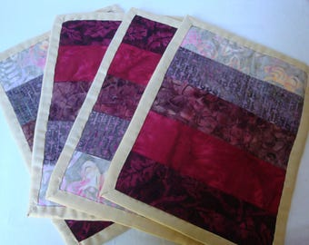 Set of 4 quilted style coasters, set of 4 mug rugs, home decor, table protectors, kitchen and dining decor, batik fabric coasters,