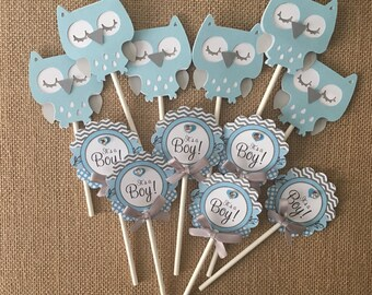Owl cupcake  toppers/ Owl baby theme/ Owl baby shower/ Owl light blue and Gray