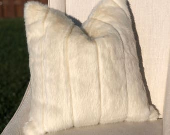 Winter White 18 x 18 Square faux Fur pillow