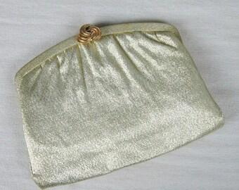 Vintage 1950s Gold Lame Clutch 50s Gold Evening Purse