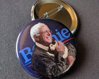 THREE Bernie Sanders with Cat Pinback Buttons