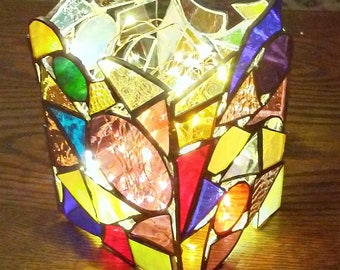 Stained glass lamp- glass home decor - candle lamp- stained glass art - colorful home decor - glass art gift - stained glass art decor