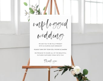 Unplugged Wedding Watercolor Calligraphy Sign / Poster - Multiple Sizes - Ceremony Sign - Digital File - INSTANT DOWNLOAD