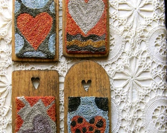 Crazy Hearts ~ 4-in-1 Punch Needle Pattern from Notforgotten Farm™ ~ PAPER/MAILED