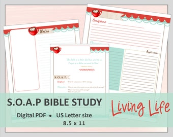 """US LETTER S.O.A.P. Bible Study Printable Planner Journal Refills / Inserts - PDF - 8.5 x 11  """"Living Life"""""""
