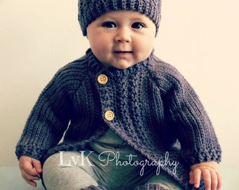 Download Now - CROCHET PATTERN Simple Cable Baby Cardigan - Sizes 0-3, 3-6, 6-12 mos - Pattern PDF