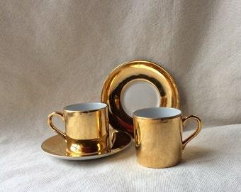 Set of MidCentury Gilt Glazed Porcelain Coffee Cups