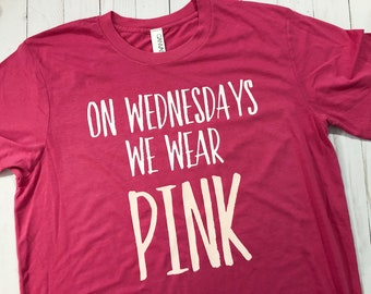On Wednesdays We Wear Pink - Handwritten // Soft Berry pink tee // Mean Girls Quote Pink Shirt