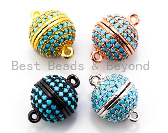 CZ Micro Pave Turquoise Color Strong Magnetic Clasp, Silver/Gold/Rose Gold/Black Rhodium Plated,10mm,12mm,14mm,16mm Pave Clasps SKU#K70