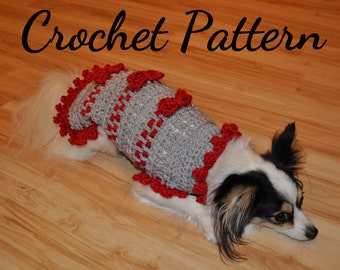 CROCHET PATTERN, Small Dog Sweater, Ribbons and Bows Sweater, Pet Clothes, Dog Clothes, Dog Sweater, Pattern, Crochet for Dogs, Crochet