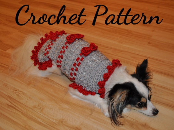 Crochet Pattern Small Dog Sweater Ribbons And Bows Sweater Pet