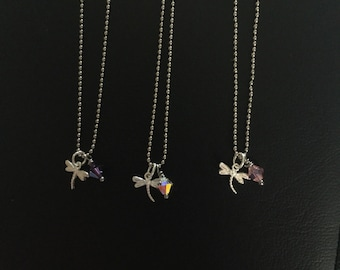 Stainless steel ball chain dragonfly and crystal