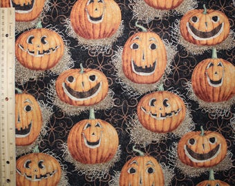 Halloween fabric, fabric, quilt fabric, fabric by the yard, cotton fabric, pumpkin fabric, by the yard, sewing, Halloween Pumpkins, quilting