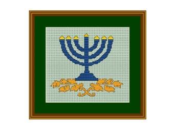 Hanukkah Menorah. Happy Hanukkah. Cross Stitch Pattern.  Instant download. PDF. Jewish Candle.