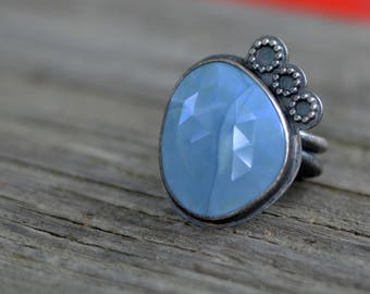 blue bubbles cocktail ring - size US 7 1/2 - african blue opal and sterling silver
