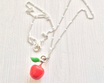 Teacher Gifts, Red apple necklace, high school grad, apple jewelry, apple charm, teacher necklace, fruit necklace, tiny apple necklace