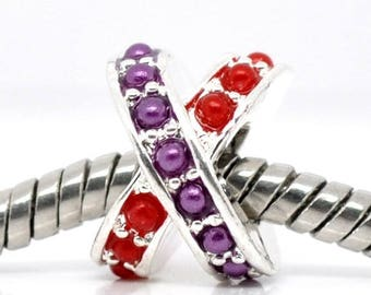 """The Pearl """"X"""" red and purple metal argente11x9mm CHARMS"""