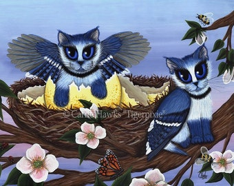 Cat Art Blue Jay Kittens Cat Painting Bluejay Bird Cats Winged Big Eye Art Fantasy Cat Art Print 5x7 Cat Lovers Art