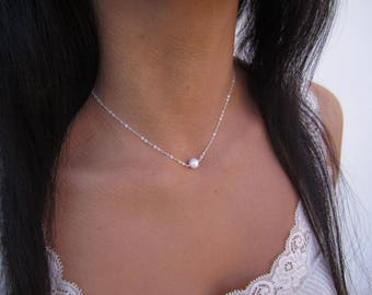 Bridesmaid Gift, Single Pearl Necklace, 14k Gold Fill or Sterling Silver, Bridesmaid Necklace, Perfect Gift for Maids, Bachelorette Party