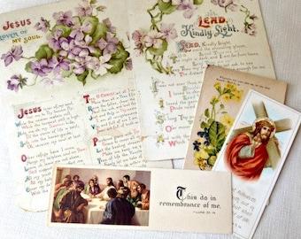 Antique Paper Ephemera Christian Spiritual Greeting Cards Violets