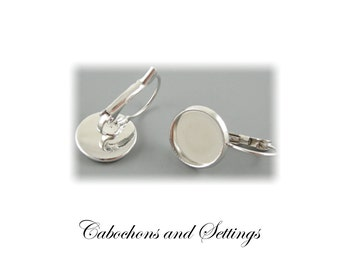 Lever Back Earrings Antique Bronze or Silver Cabochon Bezel 12mm Flatback Nickel Free - Posts from AUSTRALIA
