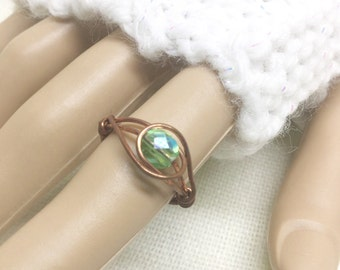 Copper ring, size 6, iridescent green