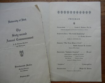 University of Utah 1931 Sixty-Second Commencement 4 piece Ephemera