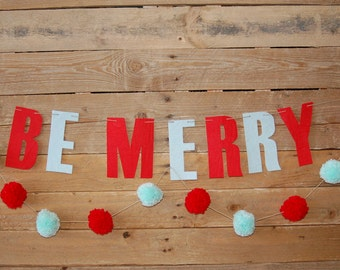"Felt ""Be Merry"" Christmas Banner (stiffened felt)"