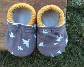 Baby Shoes for Boys or Girls - Grey Flying Bird Fabric with Mustard Yellow Solid - Custom Sizes 0-24 months 2T-4T