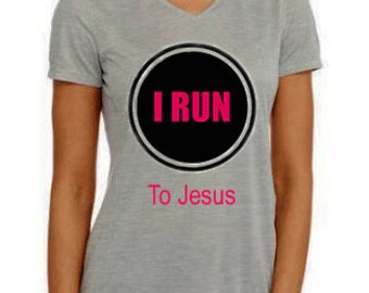 Running tee, I Run to Jesus performance tee from Danskin - hand printed - Dri-More moisture-wicking technology- reflective