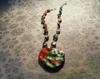 Super trendy, original, stylish, summery pendant necklace (orange, white, green, red and Brown)