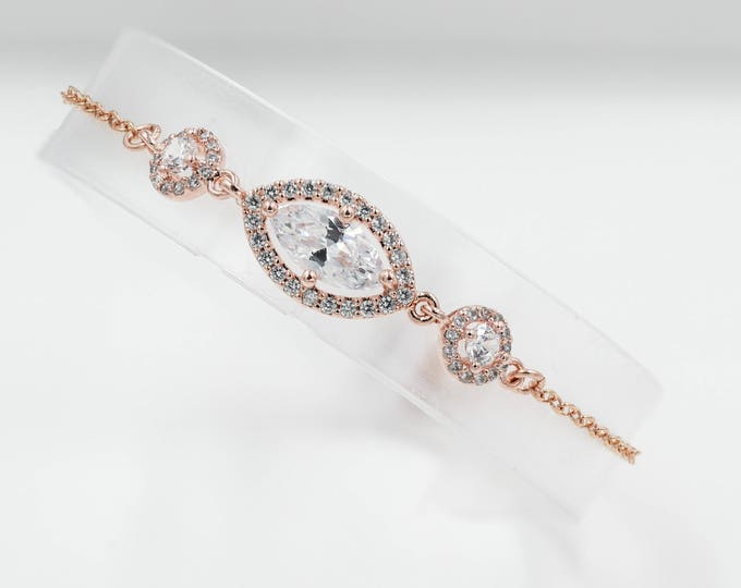 Rose gold, silver or gold crystal bracelet, cubic zirconia, bridal or prom jewellery, bridesmaids bracelets, maid of honour,