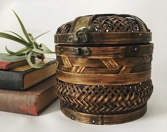 Wood and Copper Trinket Box- Wood - Boho Decor - Vintage Decor - MCM Home