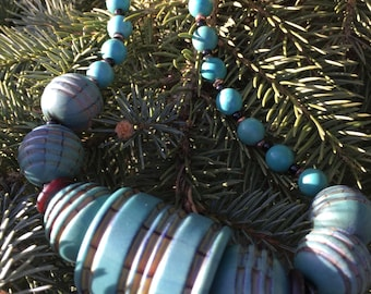 OOAK handcrafted CHICAGO at the LAKE necklace by Susan Ray.
