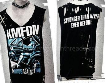 Custom Distressed Shredded Tank Tops Rock  T-Shirts KMFDM Rockwear Stagewear