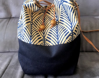 Wax leaves pattern denim bag shopping bag bucket bag