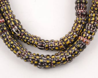Collectible Yellow Jacket Chevron Glass Trade Beads